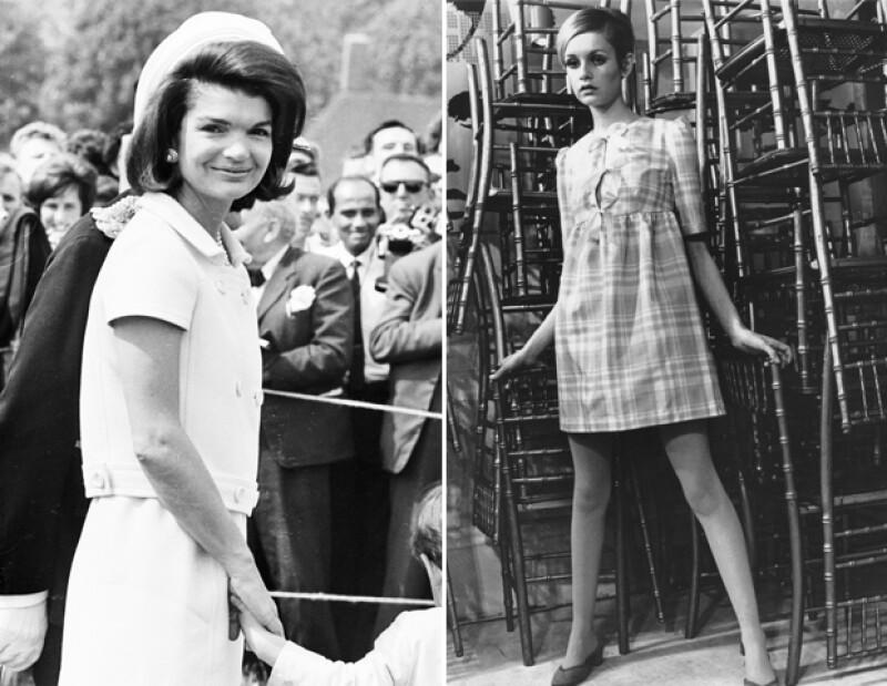 Jackie O y Twiggy representaron los años 60. Ambas muy diferentes pero llenas de estilo.