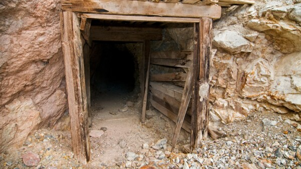 Abandoned mine entrance in Death Valley, California