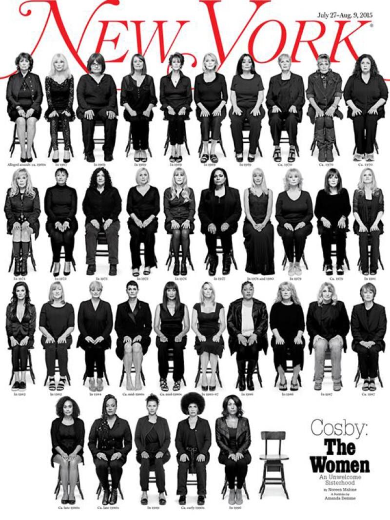 En la portada aparecen 35 de las víctimas de abuso sexual del famoso comendiante.