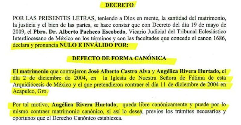 Documento que constata que el matrimonio religioso de Angélica Rivera y El Güero Castro está anulado.