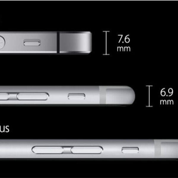 El grosor de los nuevos equipos comparados con el iPhone 5S