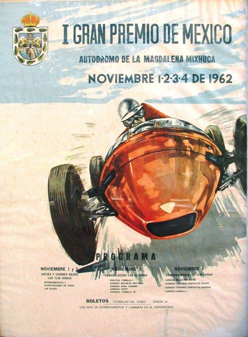 Primer cartel. Así se anunciaba el primer Gran Premio de México.