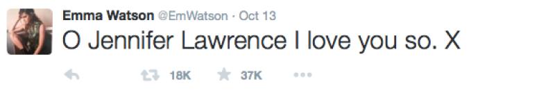 Emma Watson apoyó a Jennifer Lawrence.