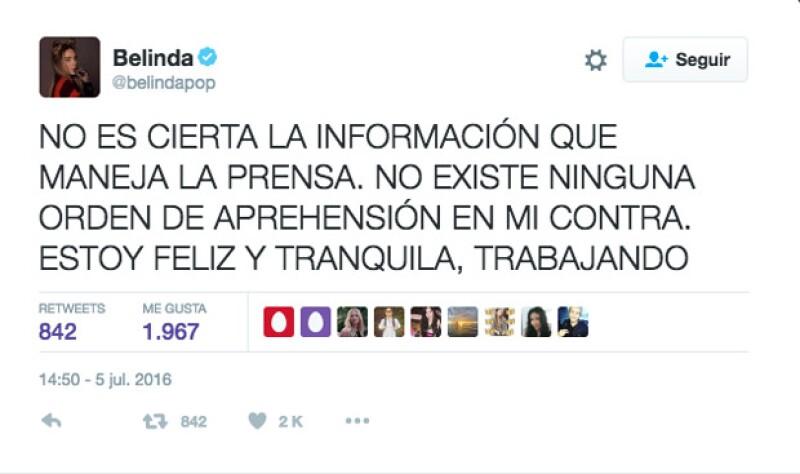 Esta fue el primer tuit que Belinda publicó en aquél entonces.