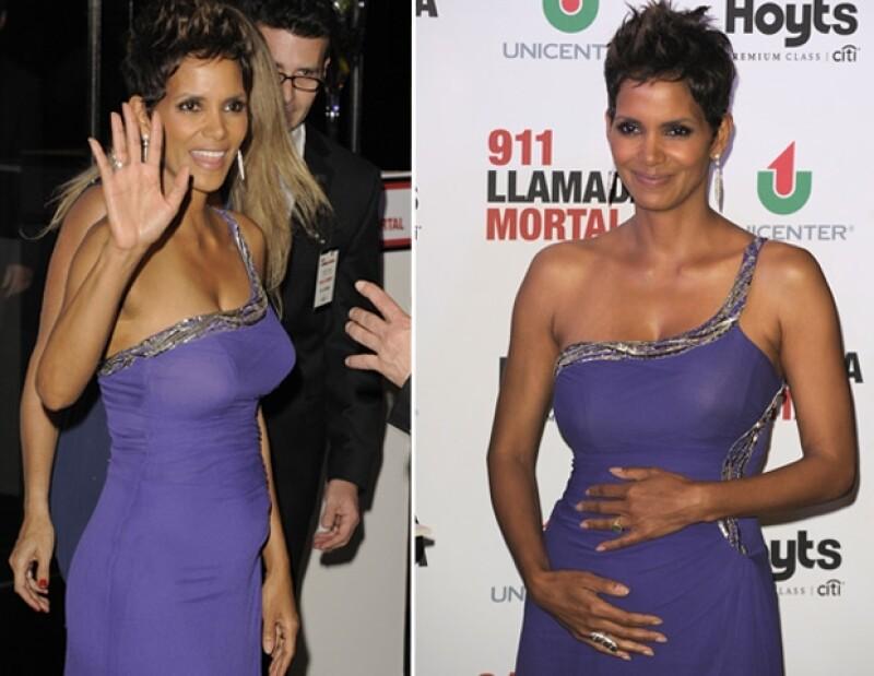 La actriz hizo su primera aparición pública luego de anunciar su segundo embarazo en la alfombra roja del estreno del filme `The call´, donde se adueñó de toda la atención.