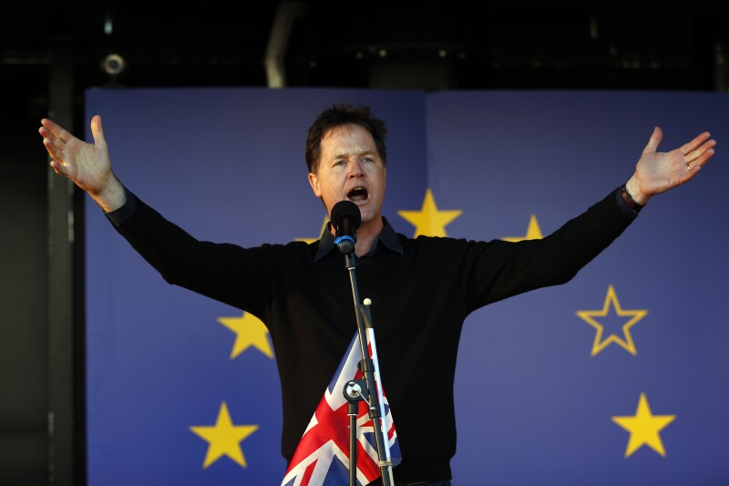 Former Liberal Democrat leader Nick Clegg speaks at a Unite for Europe rally in central London