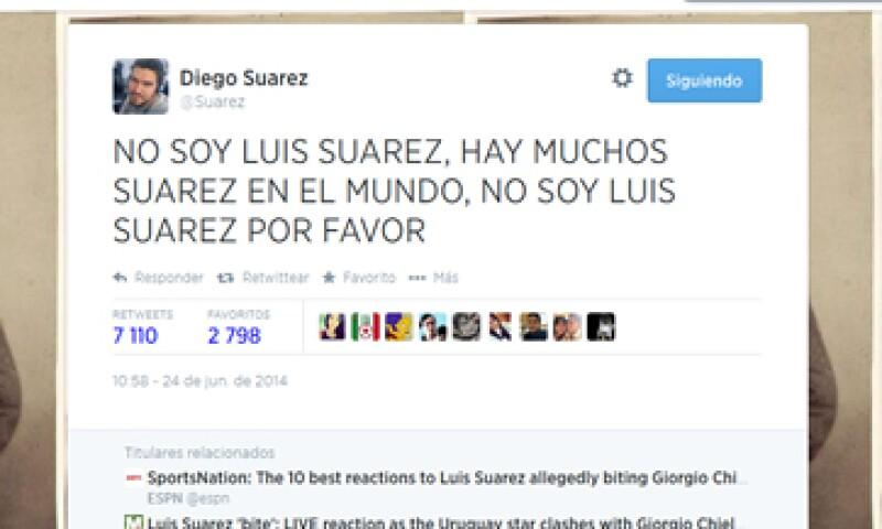 El joven argentino está dispuesto a negociar con el uruguayo para cederle su nombre de usuario. (Foto: Tomada de @Suarez)