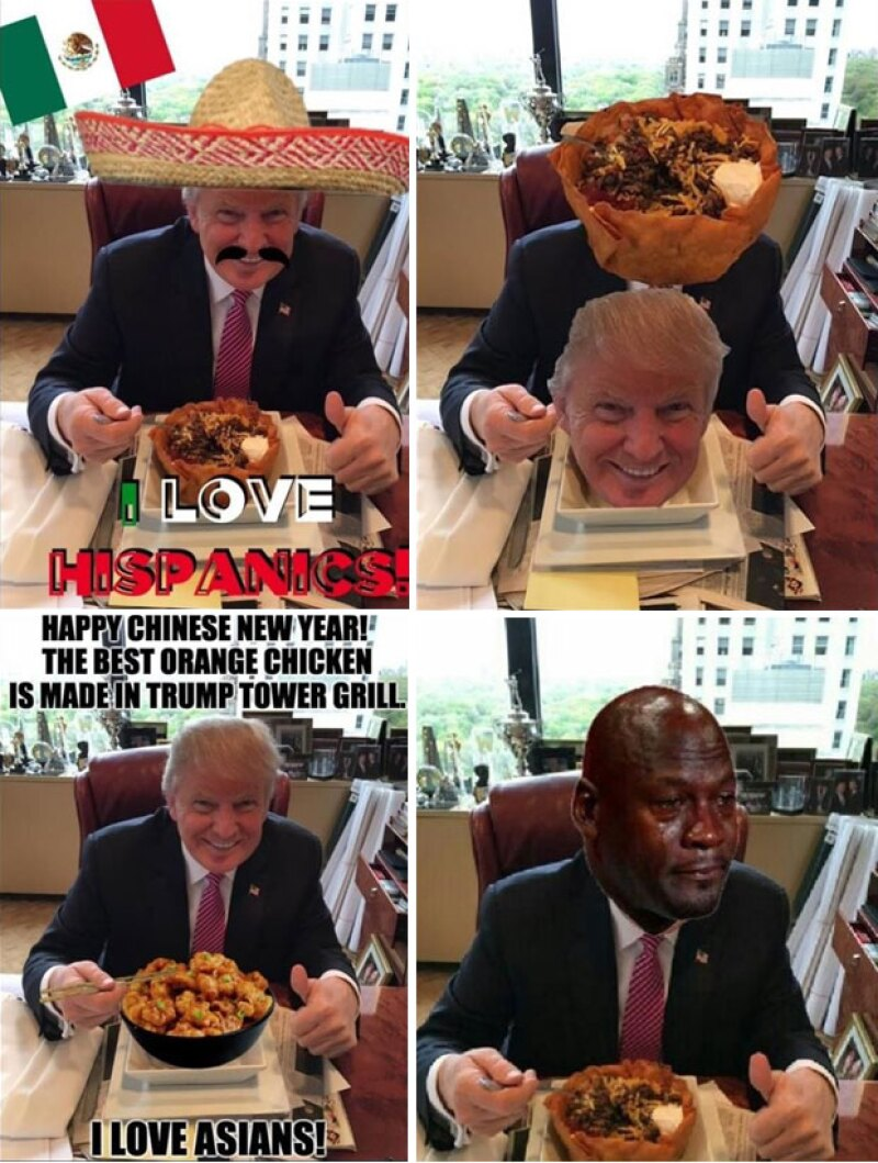 Decenas de memes de Trump burlándose de él comenzaron a publicarse en internet.