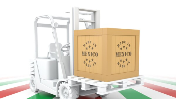 Forklift Truck with Mexico Flag Color. Made in Mexico.
