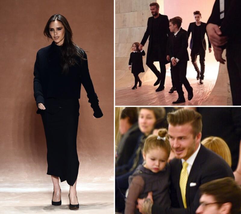 Victoria tuvo en front row a cada uno de sus amuletos de la suerte, sus hijos y su guapo esposo.