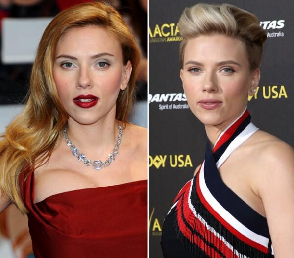 Scarlett pasó de un pelo largo y rojizo a un corte pixie rapado de los costados y güero.