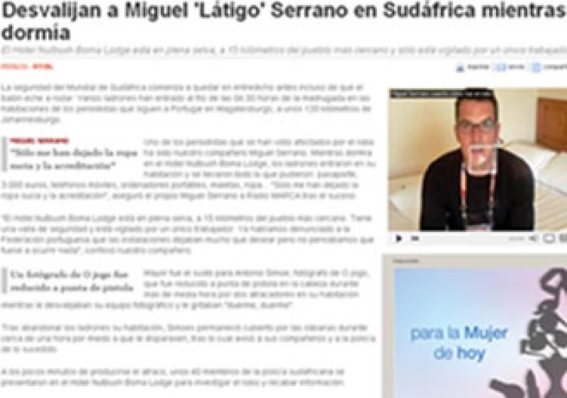 Imagen que muestra el diario deportivo marca.com, en el cual el periodista narra el asalto. (Foto: Foto tomada de marca.es)