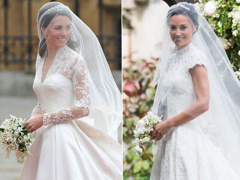 kate y pippa middleton y sus espectaculares vestidos de novia, ¿cuál