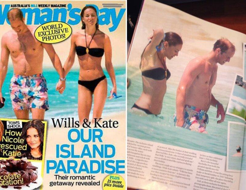 La revista australiana Woman´s day dio a conocer unas imágenes en exclusivas donde se ve a Middleton en traje de baño y disfrutando de la playa en compañía de su esposo.