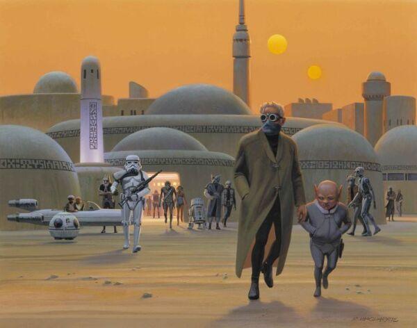 Una de las primeras pinturas de Ralph McQuarrie de Mos Eisley, Tatooine