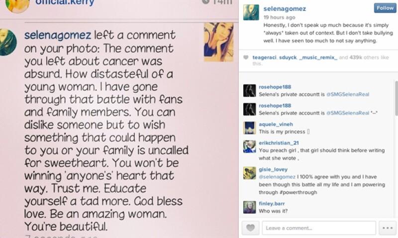 Así fue como Selena Gomez respondió a una usuaria de Instagram que le deseó cáncer.