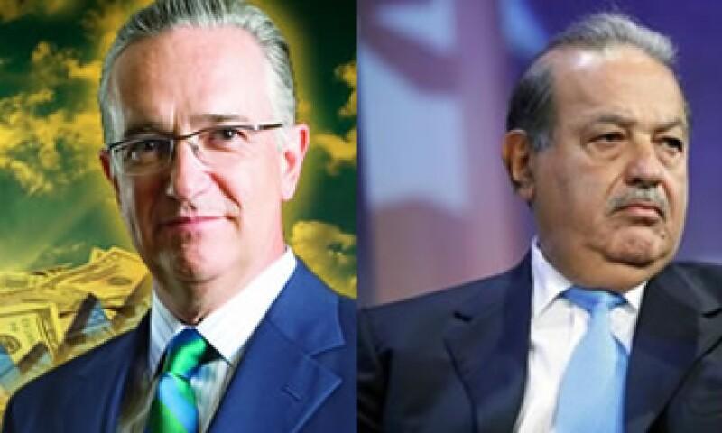 Ricardo Salinas Pliego (izq.) sumó 9,200 millones de dólares a su fortuna personal en el último año, mientras que Carlos Slim la redujo en 5,000 mdd. (Foto: Especial)