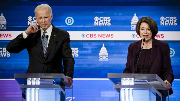 Democratic 2020 U.S. presidential candidates Biden and Klobuchar participate in the tenth Democratic 2020 presidential debate in Charleston, South Carolina