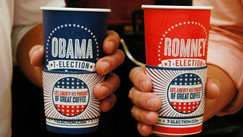 7 eleven, café, tazas, elecciones, eu, obama, romney