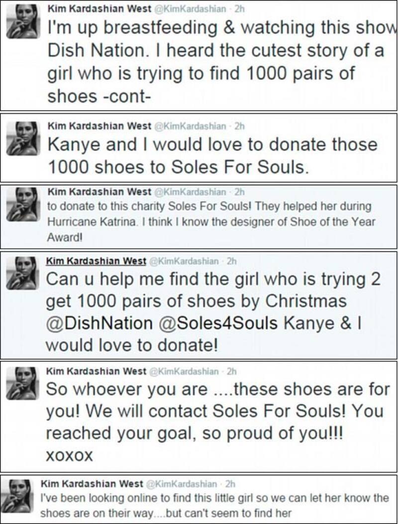 Estos fueron algunos de los tuits con los que Kimmy mostró lo conmovida que estaba y sus acciones filantrópicas.