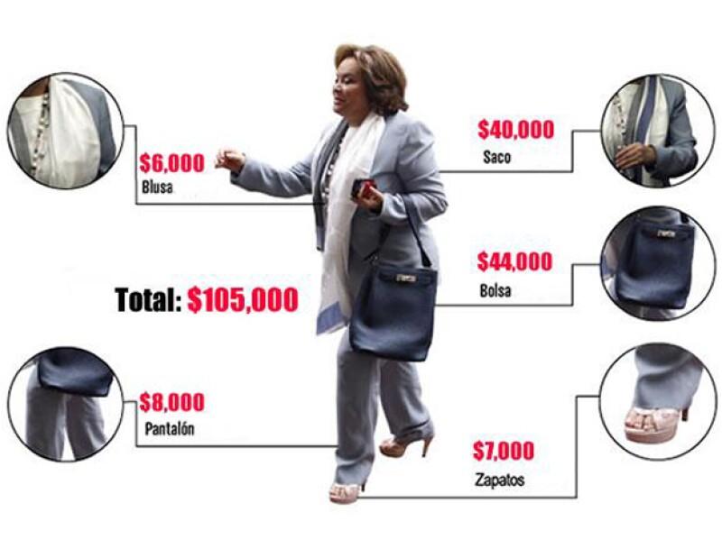 Una bolsa o un saco de la lideresa vitalicia del Sindicato Nacional de Trabajadores de la Educación (SNTE) puede costar más de $40,000, según expertas en moda