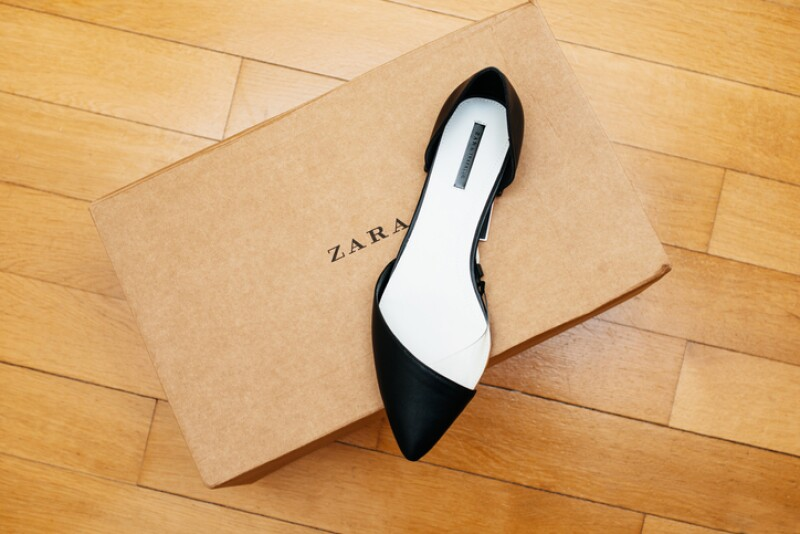 ZARA shoe placed on cardboard box