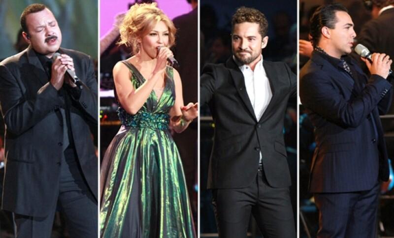 Pepe Aguilar, Thalía, David Bisbal y Cristian Castro cantaron enfáticamente temas de telenovelas mexicanas.