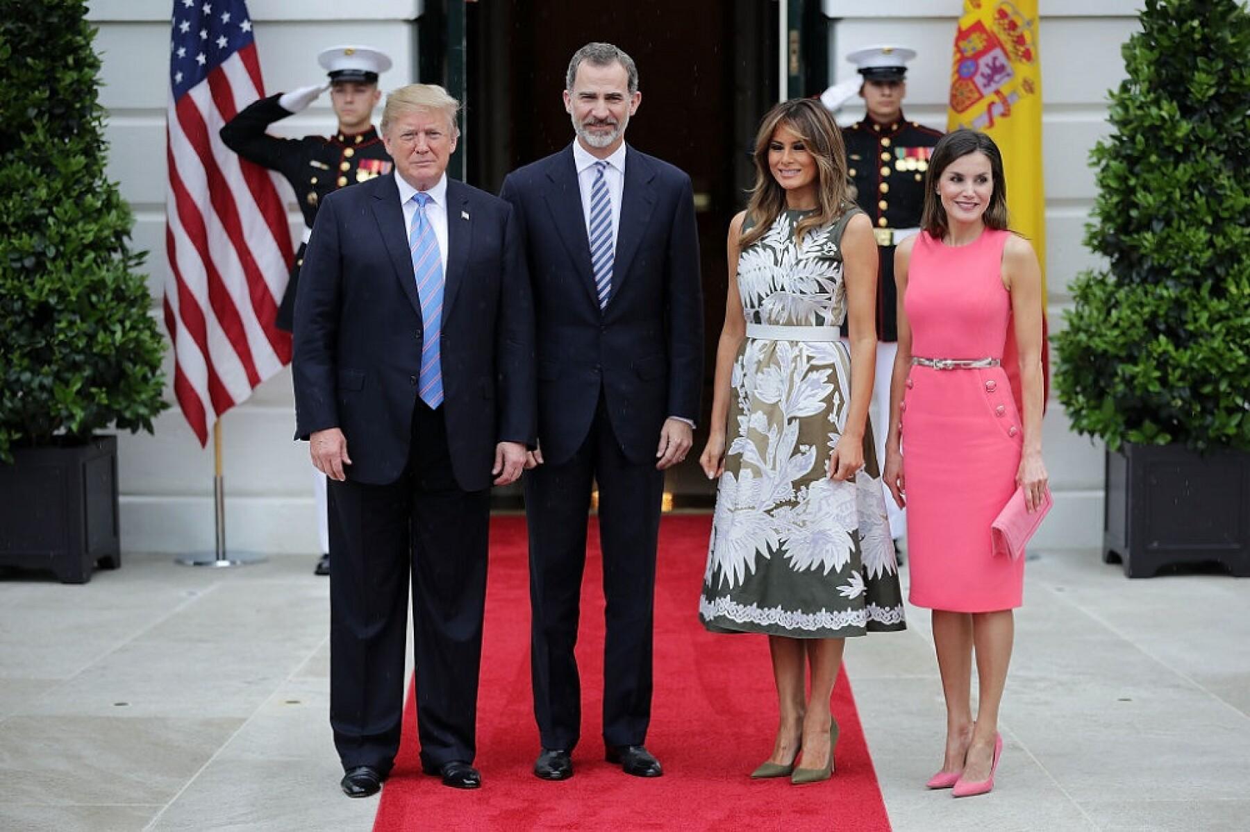 Donald Trump, rey Felipe VI, Melania Trump y la reina Letizia de España