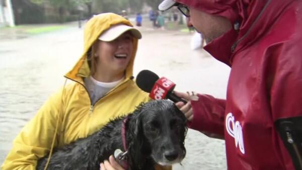 Damnificados en Houston son rescatados en lancha junto a sus mascotas