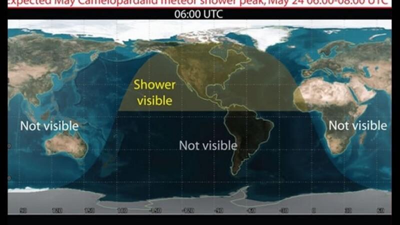 La zona oscura en este mapas muestra donde será visible la posible lluvia de estrellas para el 24 de mayo