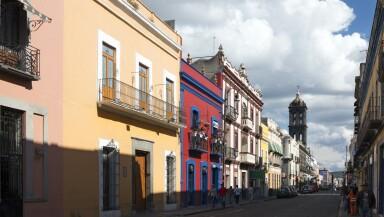 Street in Puebla in Mexico
