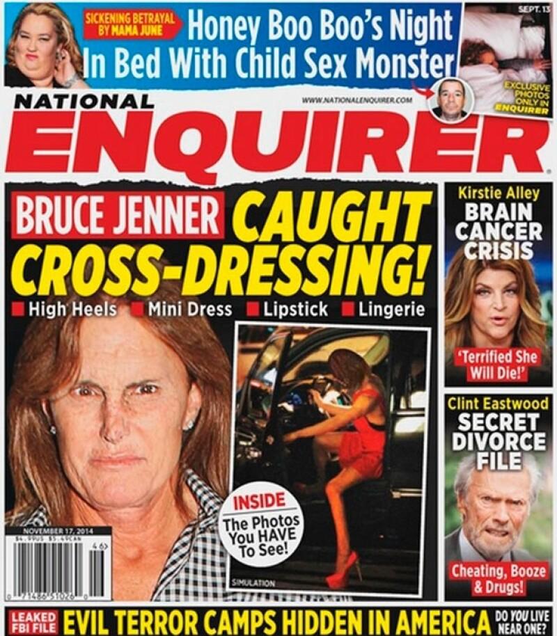 La portada de la revista National Enquirer en la cual aparentemente se captó a Bruce saliendo de su camioneta vestido de mujer.