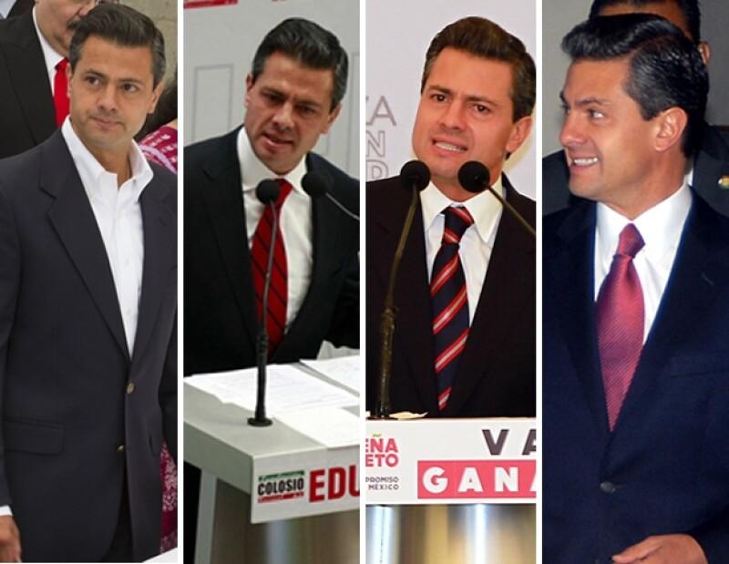 Las corbatas con rayas diagonales en tonalidad roja son un sello del candidato.
