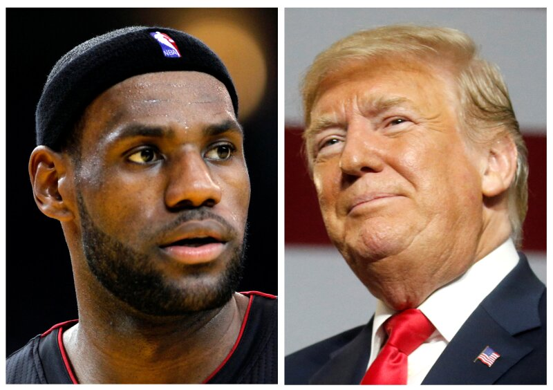 FILE PHOTO: A combination photo of NBA basketball player LeBron James and U.S. President Donald Trump i