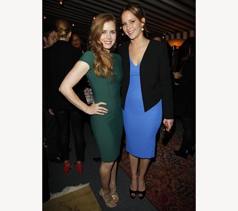"""Las actrices comparten una escena comprometedora en la película """"American Hustle"""" que está nominada a los Globos de Oro 2014."""