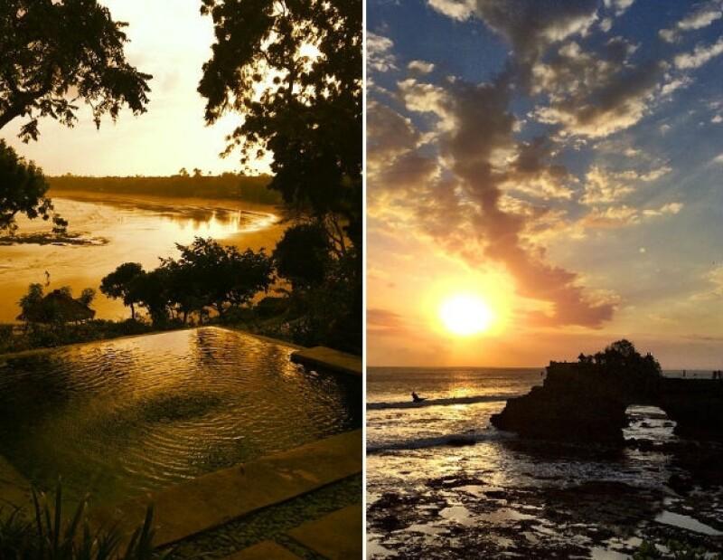 Izquierda: Bahía Jimbaran. Derecha: Tanah Lot.