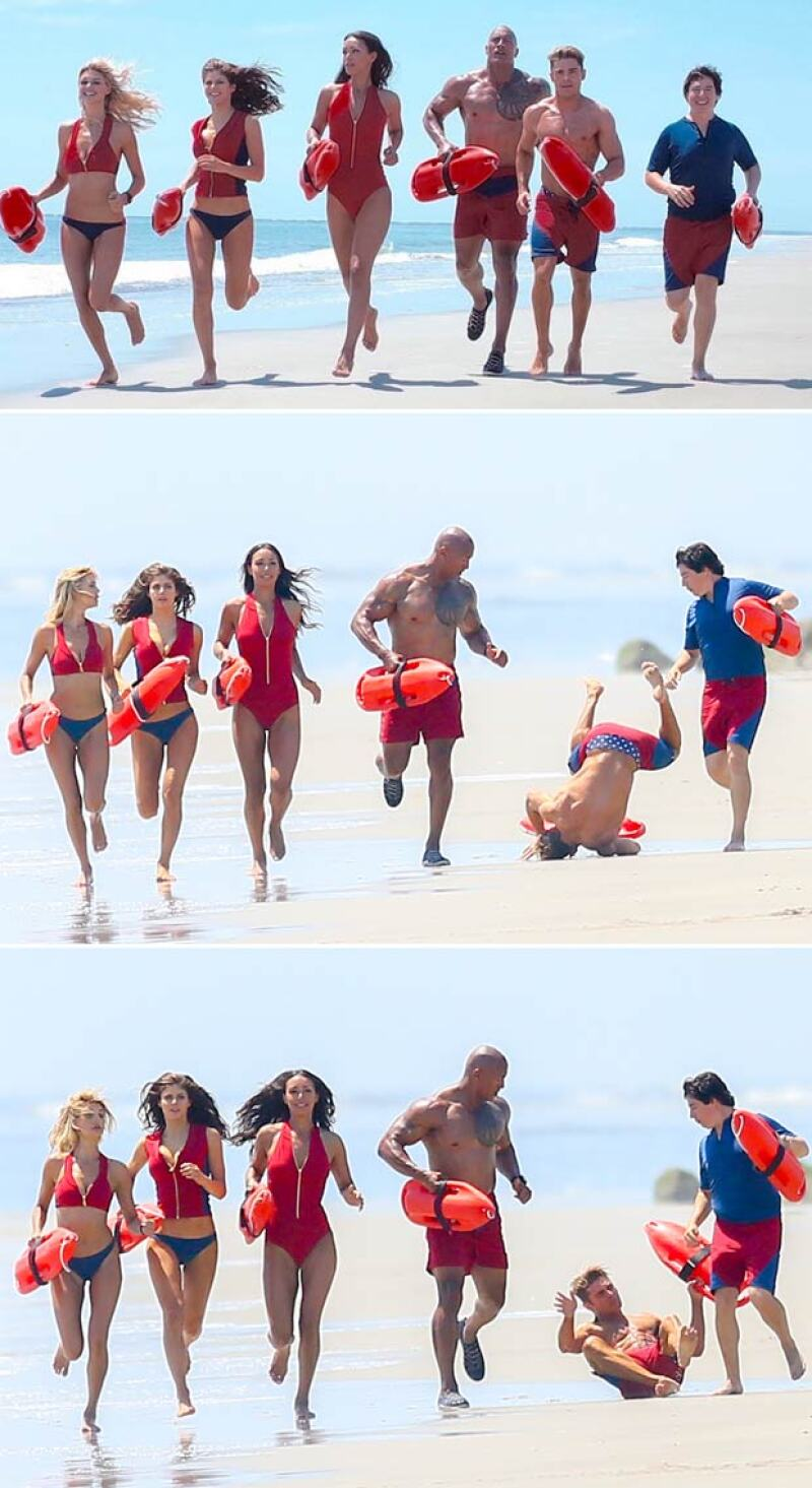 Esta es la secuencia de la caída de Zac Efron durante filmación de Baywatch.
