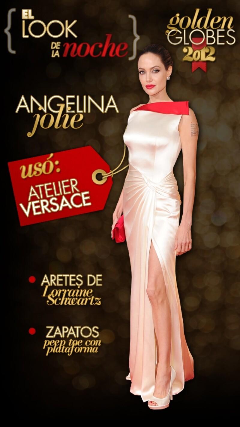 La guapa directora de `In the Land of Blood and Honey´ lució espectacular en la alfombra roja de los Golden Globes.