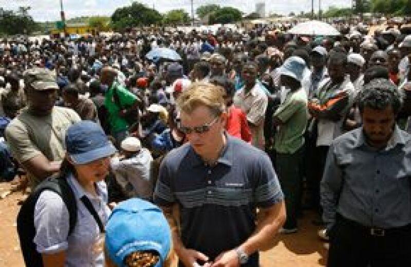 El actor estuvo en algunos centros de Musina, en donde escuchó los relatos de varias personas.