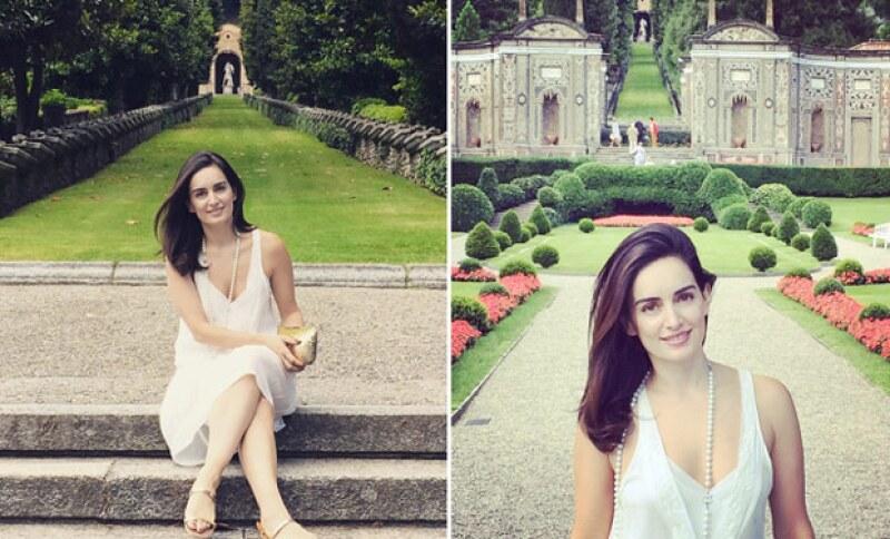 La actriz presumió su cara al natural, misma que hacía juego con el bello paisaje de Tívoli.