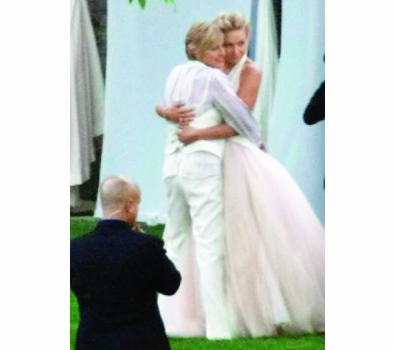 Ellen y Portia el día de su boda.