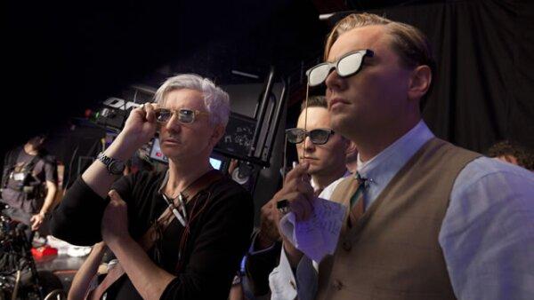 El director Baz Luhrmann con Tobey Maguire y Leonardo DiCaprio.