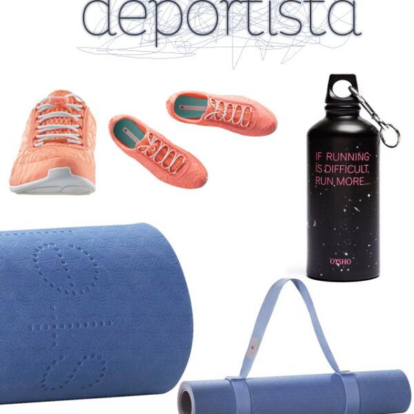 1. Tenis para jogging / Stella McCartney para Adidas 2. Bote de agua para deporte / Oysho 3. Mat de yoga / Stella McCartney para Adidas