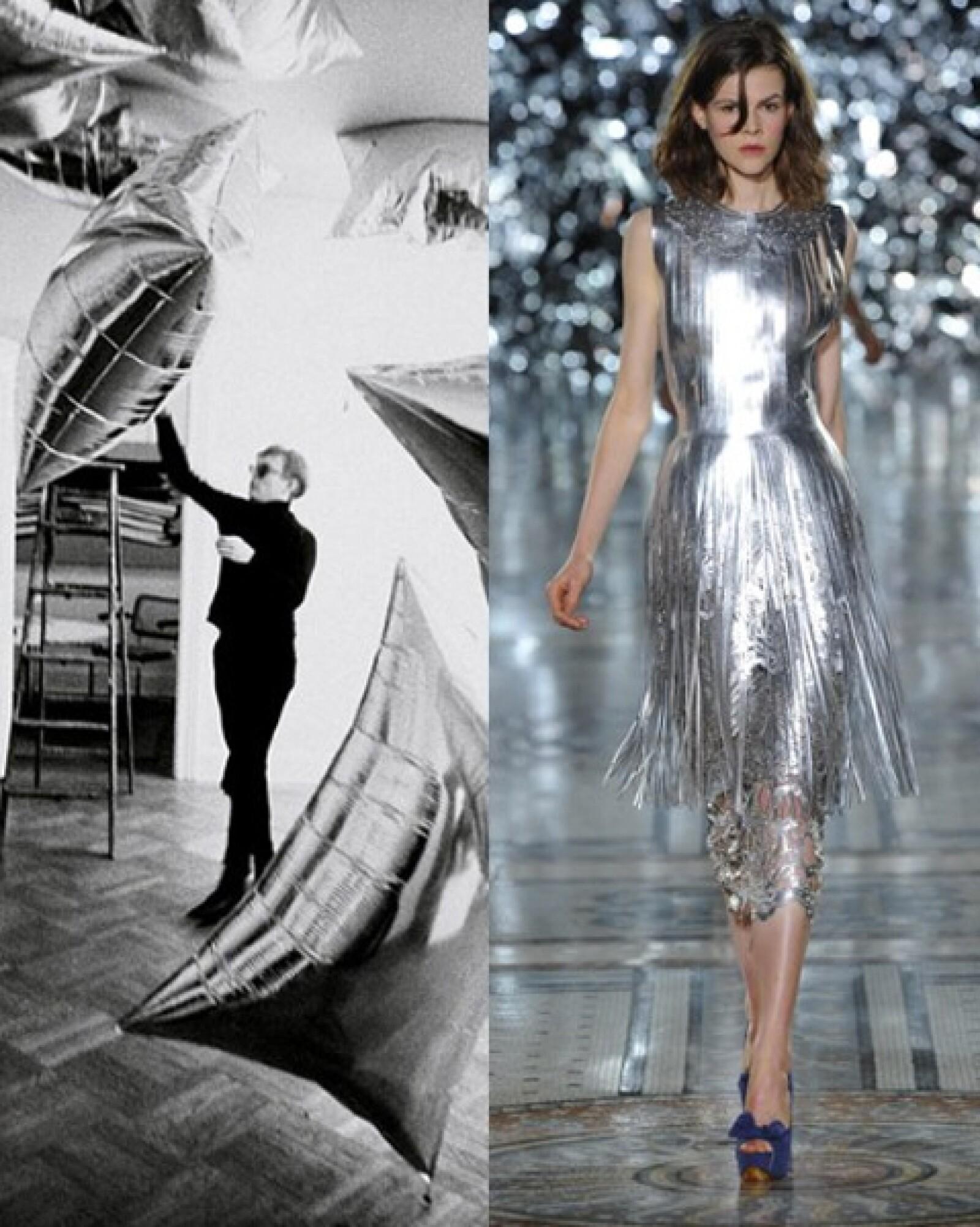 Las nubes plateadas de Warhol inpiraron a Giles Deacon para la creación de una serie de piezas de estilo futurista.