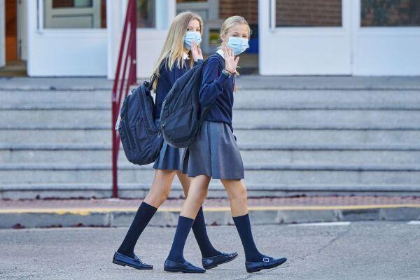 Princess Leonor and Princess Sofia arrive at 'Santa Maria de los Rosales' school, Madrid, Spain - 11 Sep 2020
