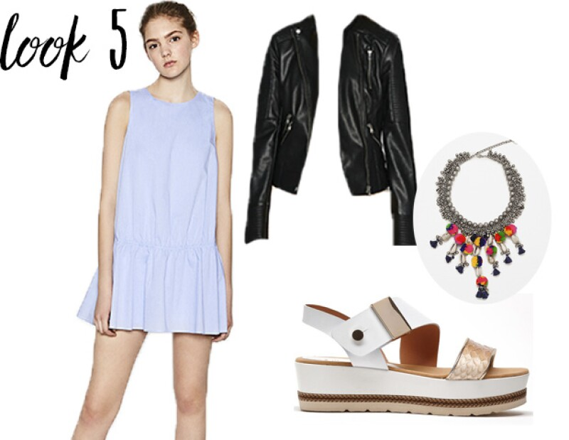 Look 5: Vestido, chamarra y collar: Zara Zapatos: PRADA MÉXICO
