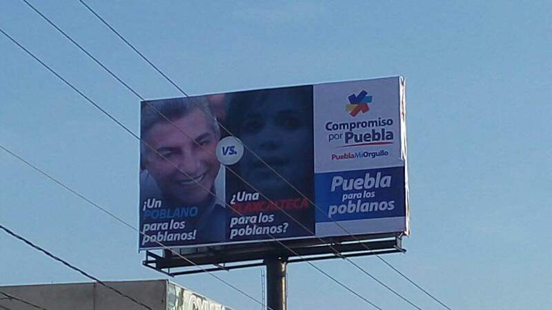 Los espectaculares, colocados por el partido local Compromiso por Puebla, replican una táctica empleada por el actual gobernador en la campaña de 2010.