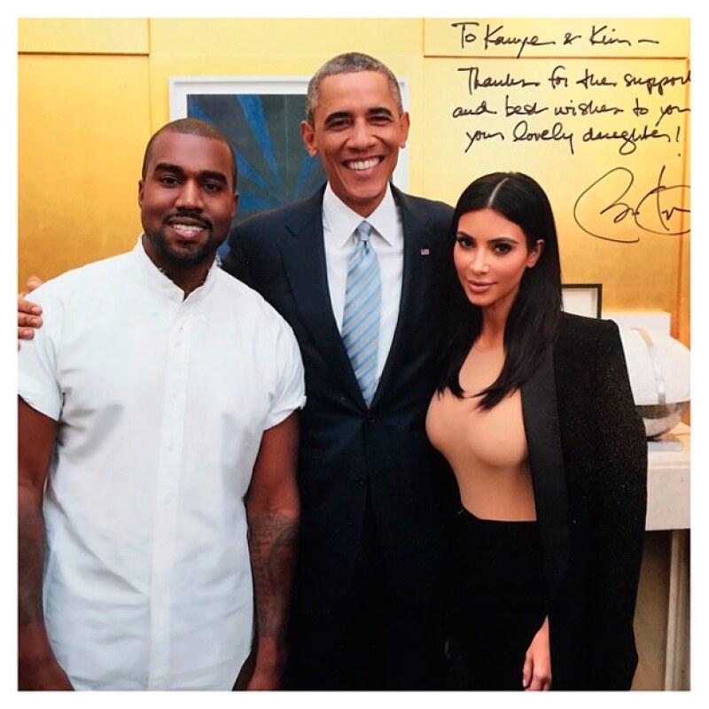 La estrella de Keeping Up With The Kardashians comparitó un flashback de cuando ella y Kanye conocieron al presidente de Estados Unidos.