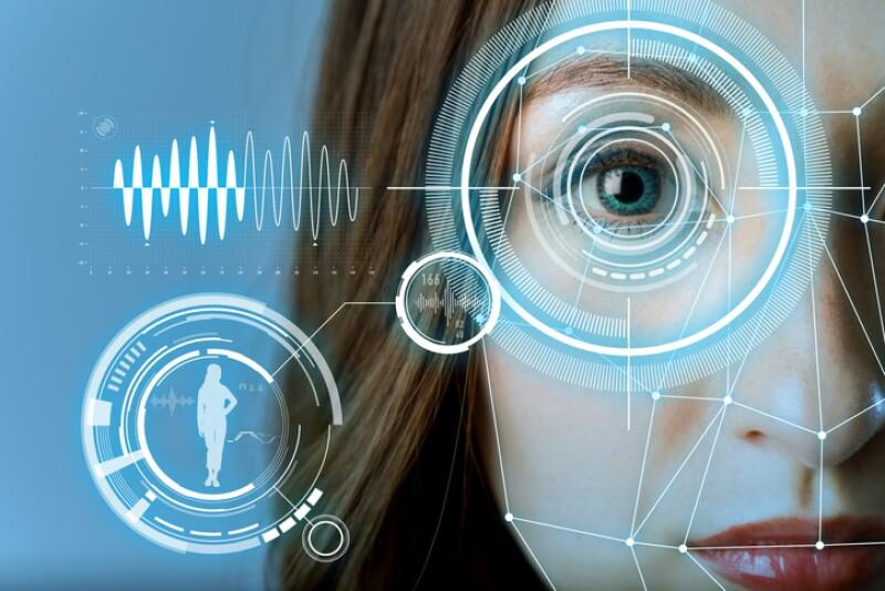 biometric authentication concept. facial recognition system. iris authentication system.