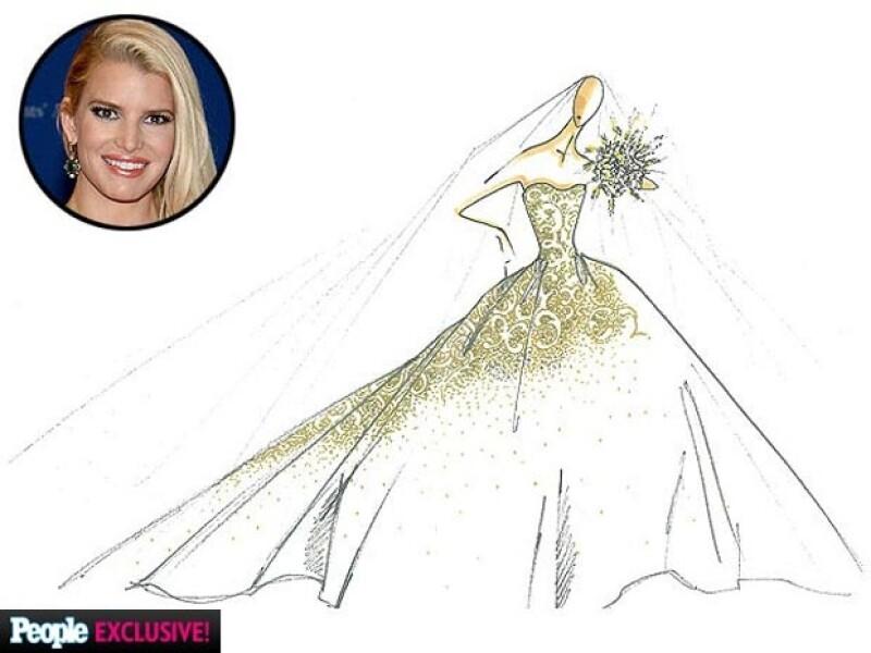 Este es el boceto del diseño que lució Jessica en su boda.